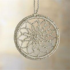 Crocheted Silver Snowflake Ornament