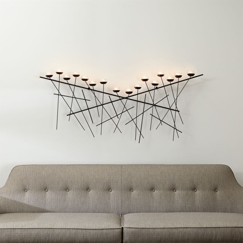 Metal Wall Decor Candle Holder : Crosshatch metal wall candle holder crate and barrel