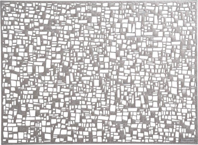 An open weave in easy-care gunmetal vinyl creates a lacy, abstract effect for the modern table.<br /><br /><NEWTAG/><ul><li>100% vinyl</li><li>Hand wash</li><li>Made in Taiwan</li></ul>