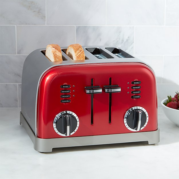cuisinart classic 4 slice red toaster crate and barrel. Black Bedroom Furniture Sets. Home Design Ideas