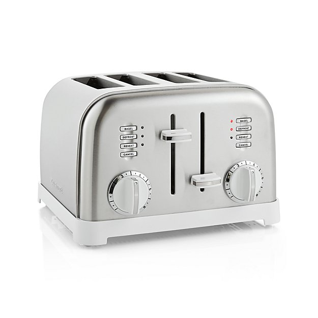 Cuisinart Classic 4 Slice White Brushed Stainless Steel Toaster