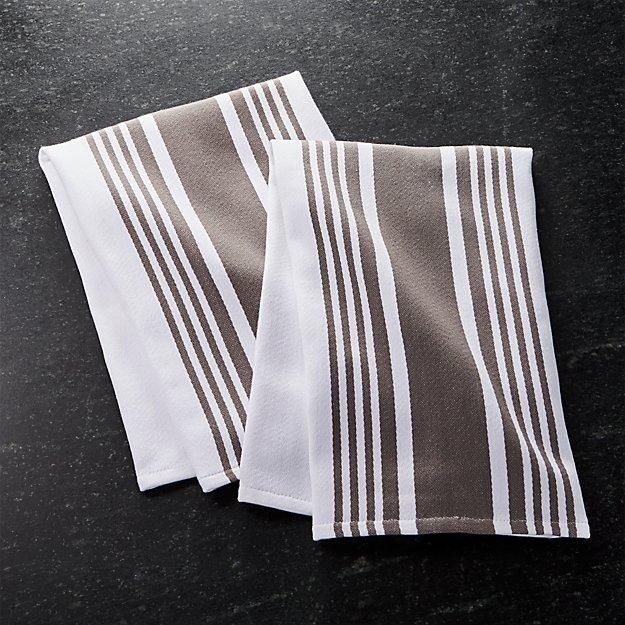 set of 2 cuisine stripe grey dish towels | crate and barrel