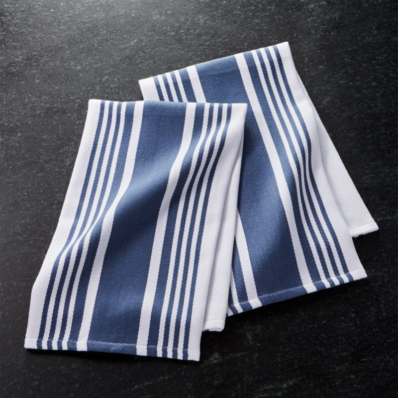 Set Of 2 Cuisine Stripe Indigo Blue Dish Towels Crate