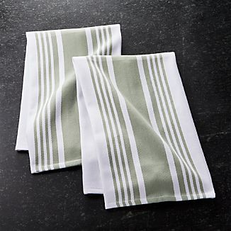Set of 2 Cuisine Stripe Sage Green Dish Towels