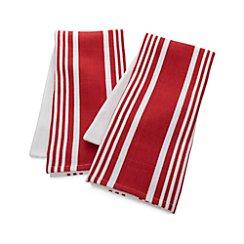 Set of 2 Cuisine Stripe Red Dish Towels