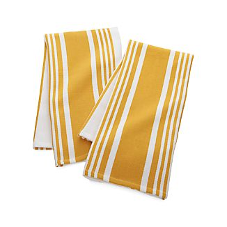 Set of 2 Cuisine Stripe Yellow Dish Towels