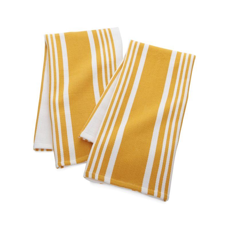 Set of 2 Cuisine Stripe Yellow Dish Towels