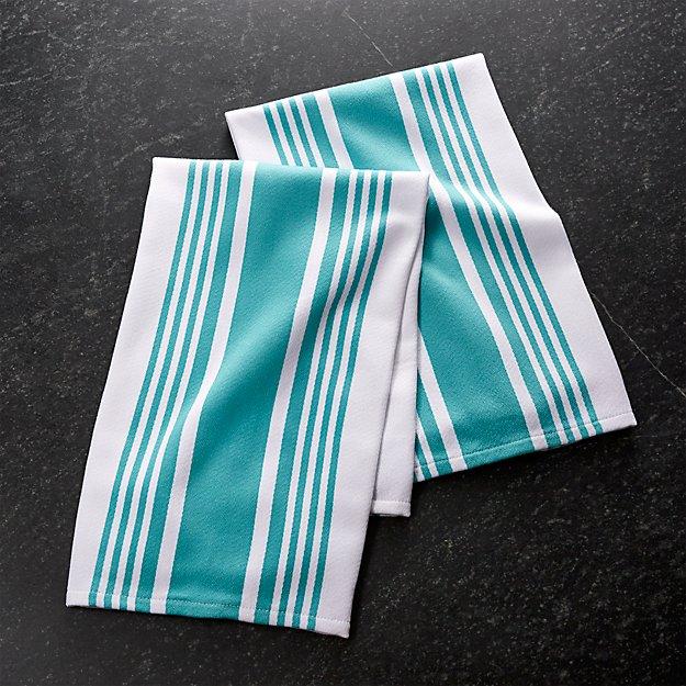 Set of 2 Cuisine Stripe Aqua Dish Towels