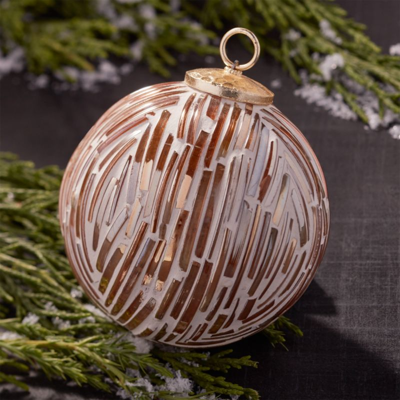 Cut Glass Gold/White Ball Ornament