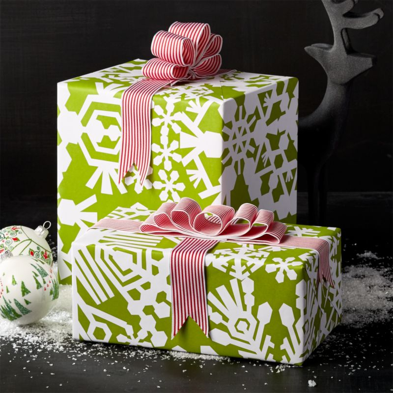 Cut Paper Snowflake Green Wrapping Paper