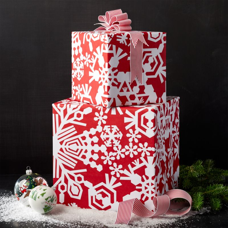 Cut Paper Snowflake Red Wrapping Paper