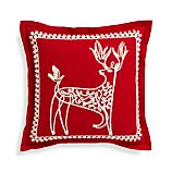 "Dasher 18"" Red Reindeer Pillow with Feather-Down Insert"