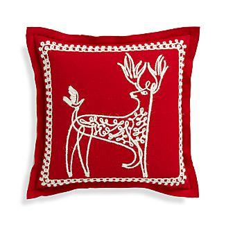"Dasher 18"" Red Reindeer Pillow"