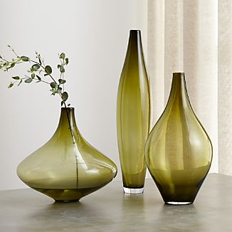 Davina Olive Green Glass Vases