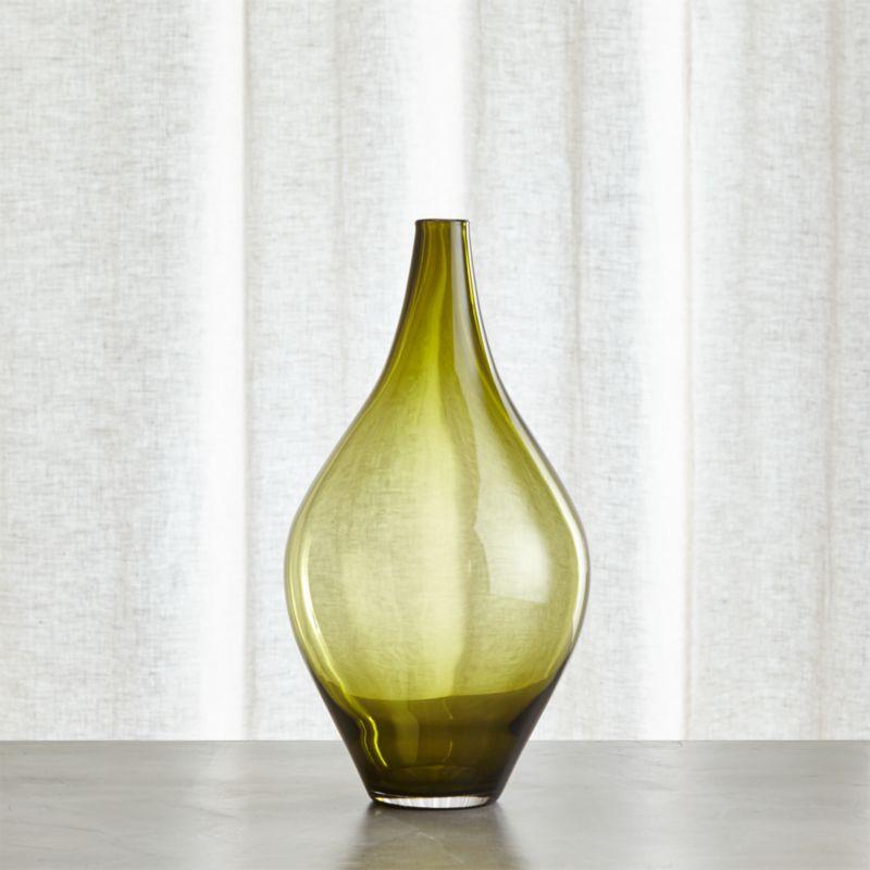 Davina Medium Olive Green Glass Vase