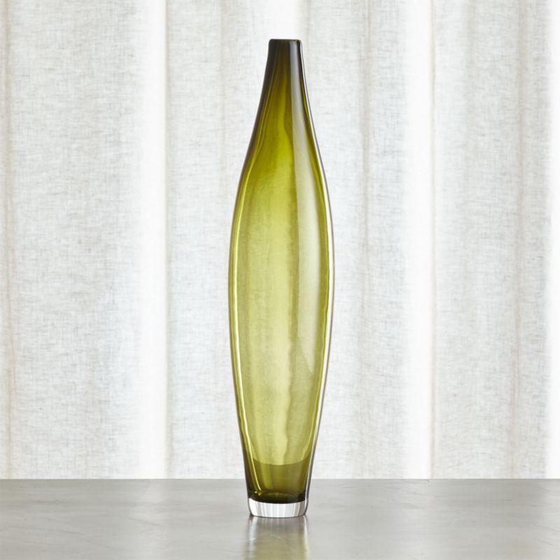 Davina Tall Olive Green Glass Vase
