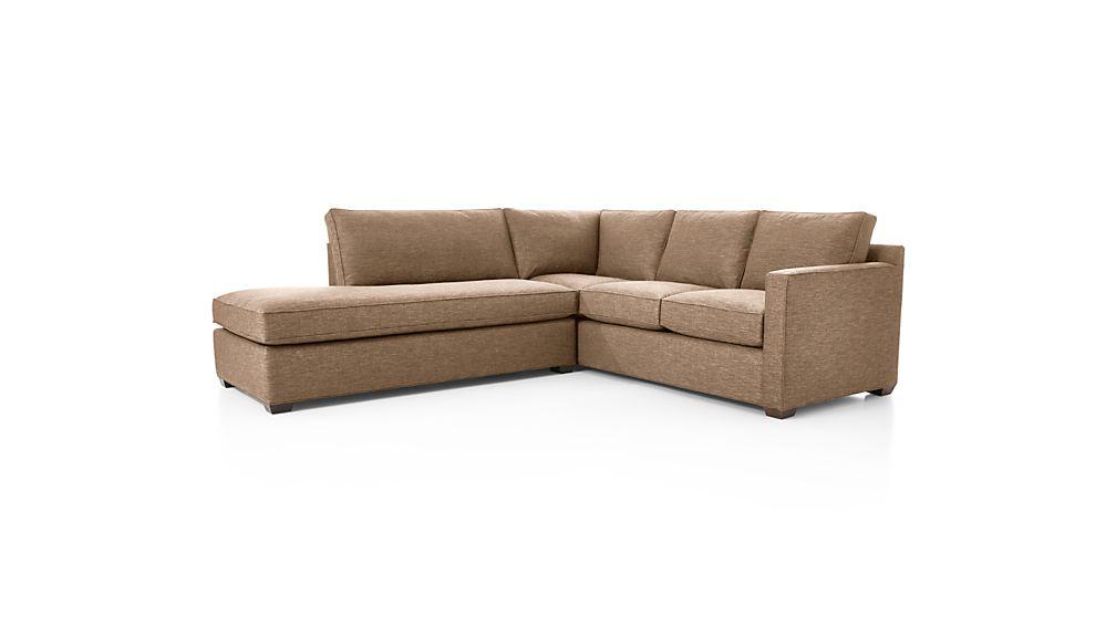 Davis 2 piece left bumper sectional sofa darius mink for Davis 2 piece sectional sofa