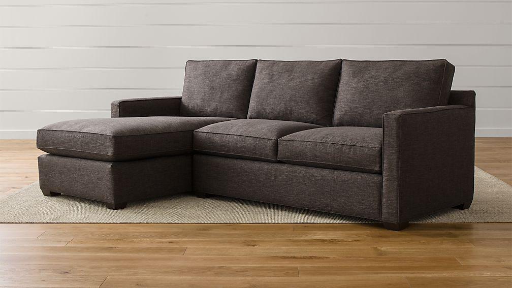 Davis 2 piece sectional sofa darius graphite crate and for Davis 2 piece sectional sofa