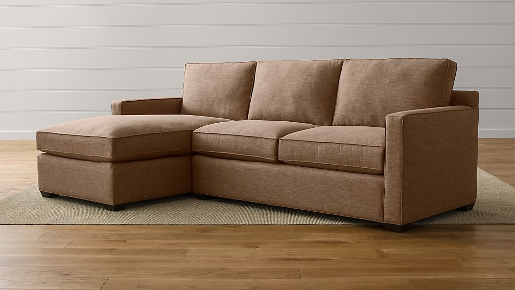 Davis 2 piece sectional sofa darius mink crate and barrel for 2 pieces sectional sofa
