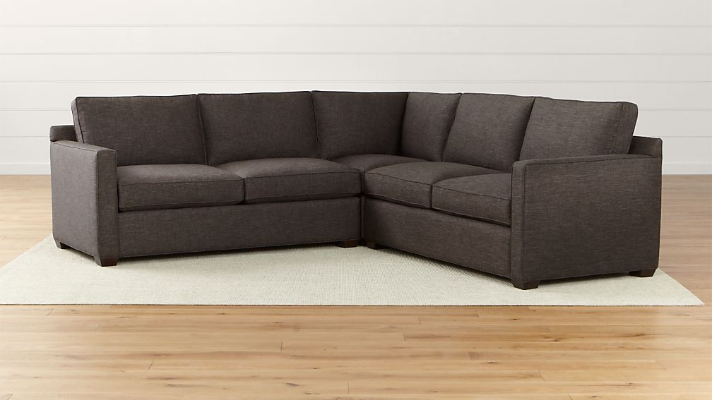 Davis 3 Piece Sectional Sofa Darius Graphite Crate And Barrel