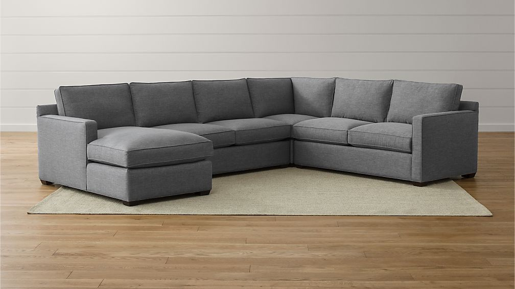 Davis 4 Piece Sectional Sofa Darius Ash Crate And Barrel