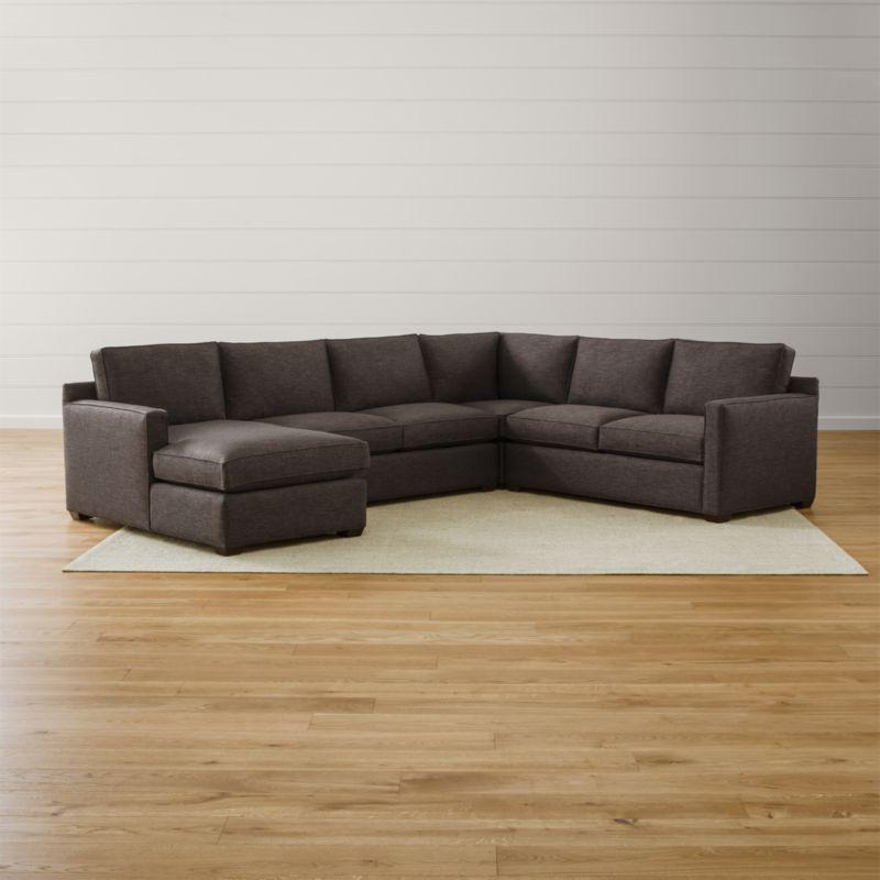 Davis 4 Piece Sectional Sofa Darius Graphite Crate And