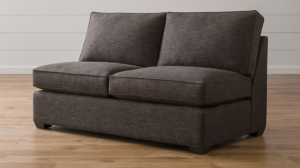 Davis armless loveseat darius graphite crate and barrel for Crate and barrel armless chair