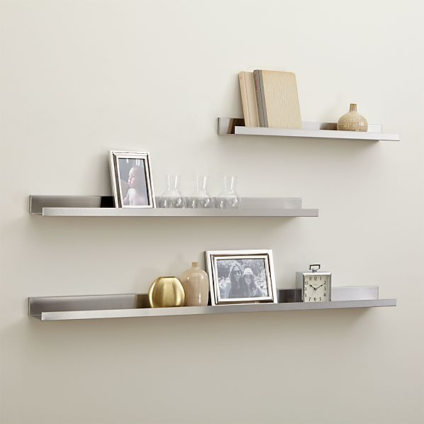 Davis Brushed Silver Wall Shelves