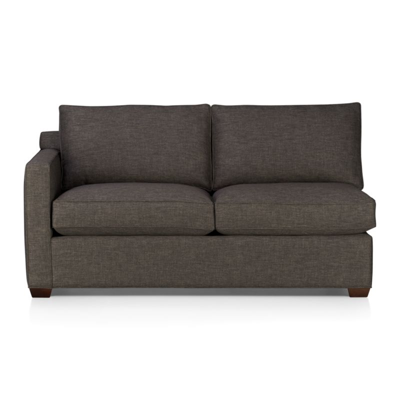 Davis is a contemporary compact sectional designed for contemporary real life. Every imaginable configuration is possible between these modular pieces and the companion stand-alone pieces, all with firm but plump support. Upholstered in a rich tonal charcoal weave, they stand up to high traffic. Understated hardwood legs have a rich hickory finish. Sofa group also available.<br /><br />After you place your order, we will send a fabric swatch via next day air for your final approval. We will contact you to verify both your receipt and approval of the fabric swatch before finalizing your order.<br /><br /><NEWTAG/><ul><li>Eco-friendly construction</li><li>Certified kiln-dried hardwood frame</li><li>Seat cushions are multilayer soy- or plant-based polyfoam wrapped in fiber down blend encased in downproof ticking</li><li>Flexolator spring suspension</li><li>Back cushions are fiber down encased in downproof ticking</li><li>100% polyester</li><li>Self-welt detail</li><li>Benchmade</li><li>See additional frame options below</li><li>Made in North Carolina, USA of domestic and imported materials</li></ul>