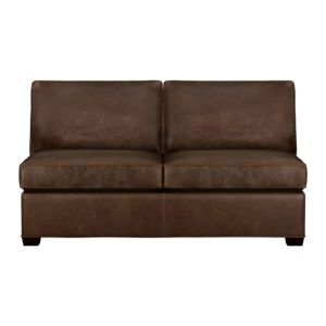 Davis Leather Armless Sectional Full Sleeper Sofa with Air Mattress