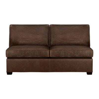 Davis Leather Sectional Armless Full Sleeper Sofa
