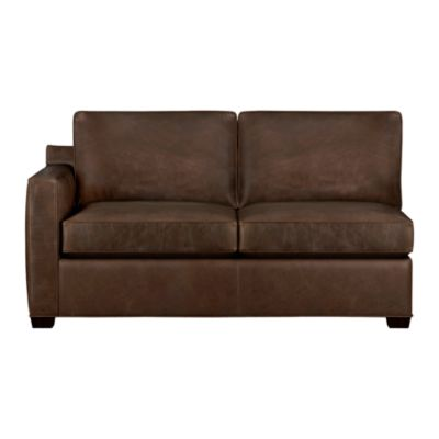 Davis Leather Left Arm Sectional Full Sleeper Sofa with Air Mattress