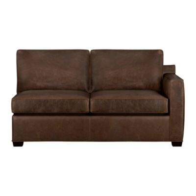 Davis Leather Sectional Right Arm Full Sleeper Sofa