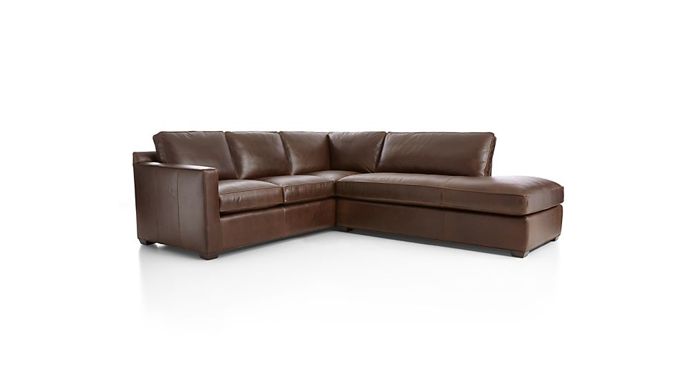 Davis Leather 2-Piece Right Bumper Sectional Sofa