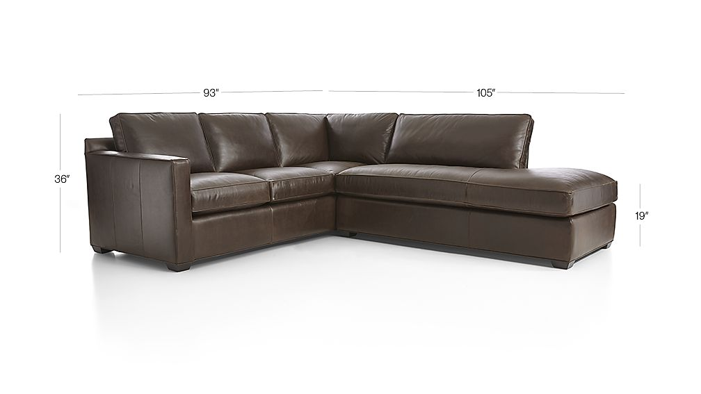 Davis leather 2 piece right bumper sectional sofa libby for Davis 2 piece sectional sofa