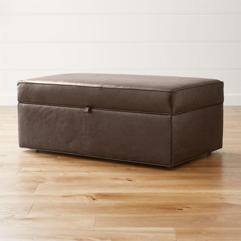 Davis Leather Storage Ottoman with Tray