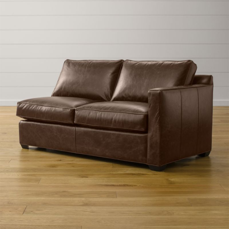 Davis Leather Right Arm Apartment Sofa