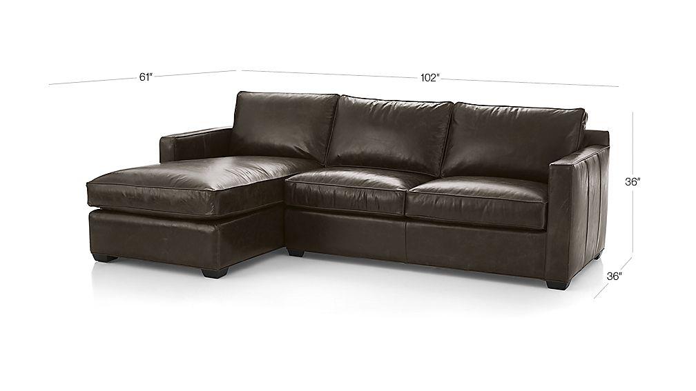Davis leather 2 piece sectional sofa libby cashew crate for Davis 2 piece sectional sofa