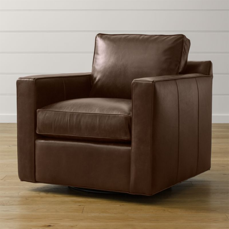 Davis Leather Swivel Chair Libby: Cashew | Crate and Barrel