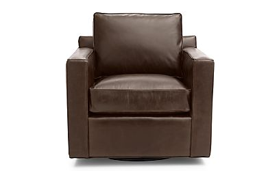 Davis Leather Swivel Chair Libby Cashew Crate And Barrel