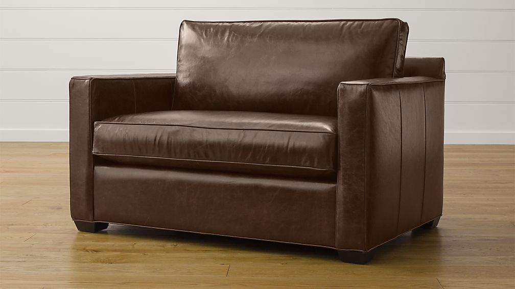 Davis Leather Twin Sleeper Sofa Libby Cashew Crate And