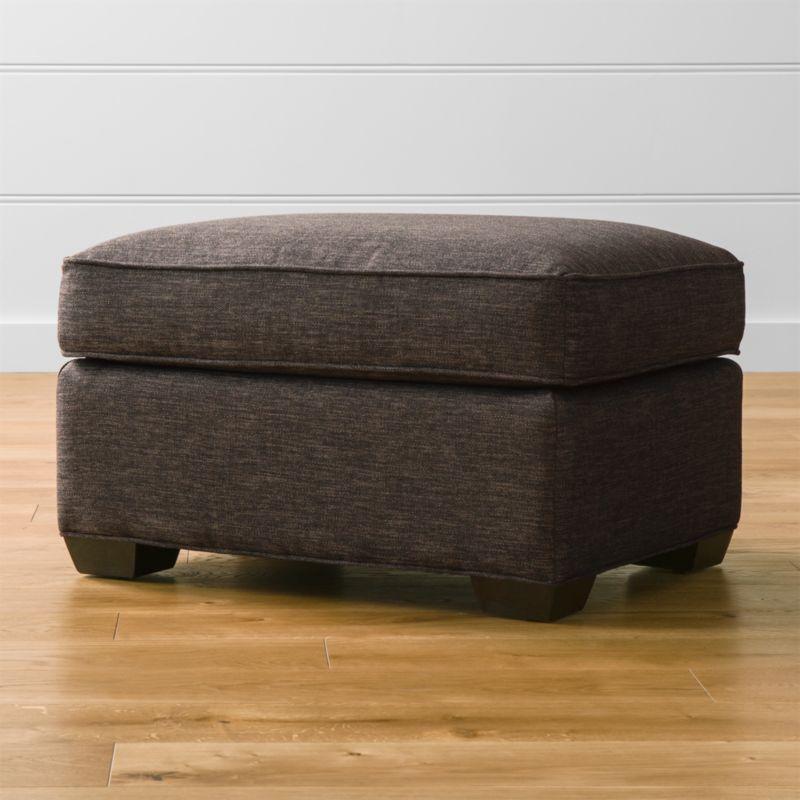 Davis ottoman darius graphite crate and barrel for Crate and barrel pouf
