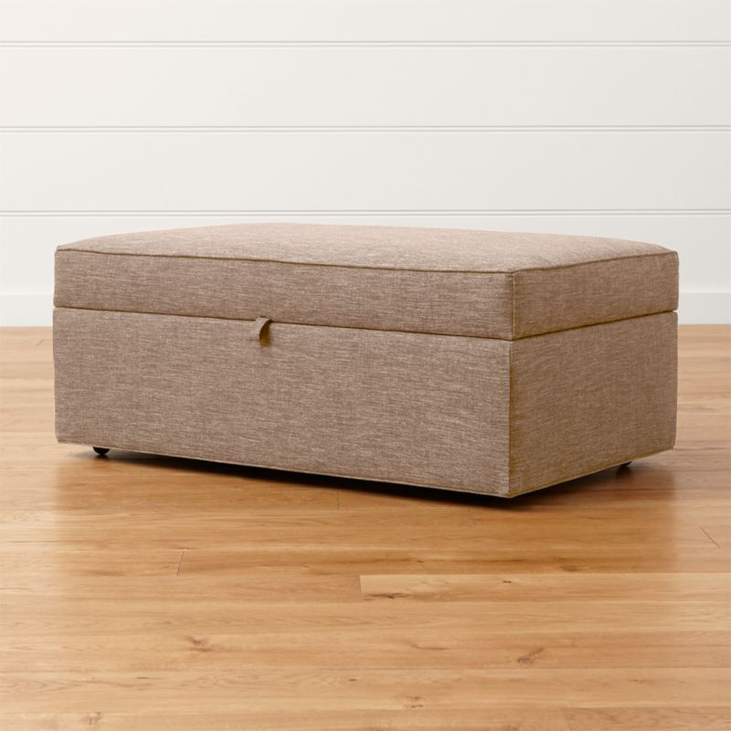 Davis storage ottoman with tray darius mink crate and for Crate and barrel pouf