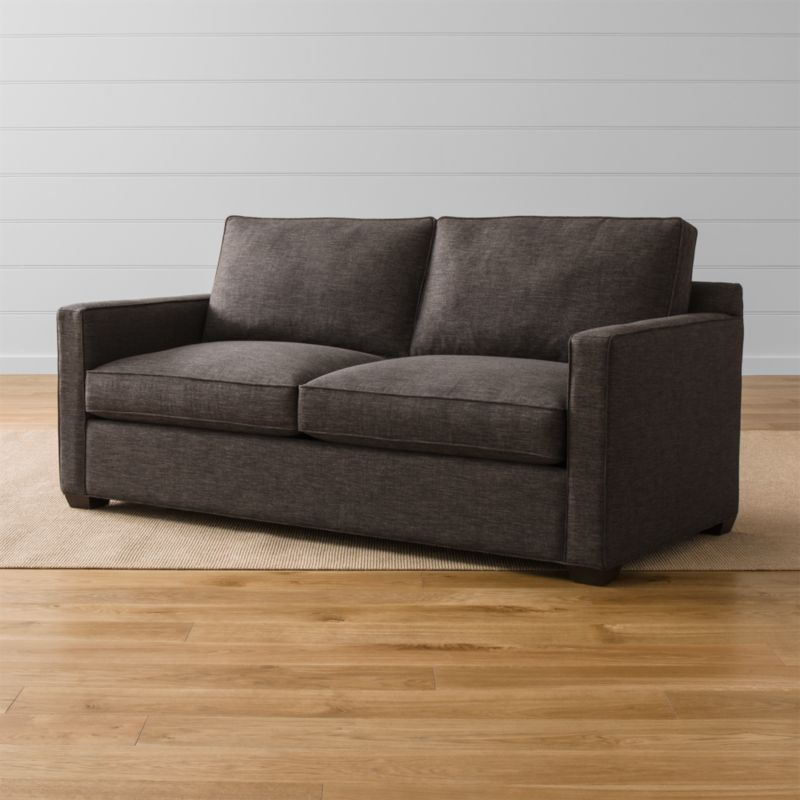 """Davis is designed to sit big in small spaces at an affordable price. Upright, yet comfortable, this versatile queen sleeper sofa is always ready for company in family rooms, casual living rooms, lofts, extra bedrooms and offices. <NEWTAG/><ul><li>Frame is benchmade with certified sustainable hardwood that's kiln-dried to prevent warping</li><li>Soy-based polyfoam seat cushions wrapped in fiber-down blend and encased in downproof ticking</li><li>Fiber-down back cushions encased in downproof ticking</li><li>5½"""" innerspring mattress with plush top</li><li>Allergy-free, odorless, mildew-resistant mattress core</li><li>Low-profile tilt headrest</li><li>Self-welt detail</li><li>Hardwood legs finished with a hickory brown stain</li><li>Made in North Carolina, USA of domestic and imported materials</li></ul><br />"""