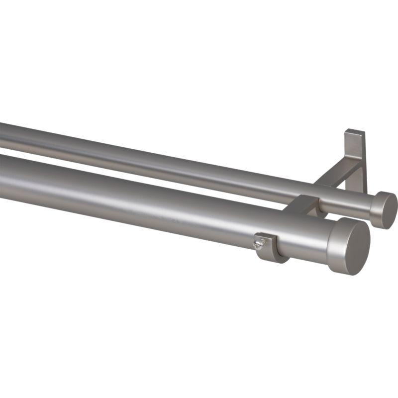"Matte Nickel 120""–170"" Double Hanging Curtain Rod Set"