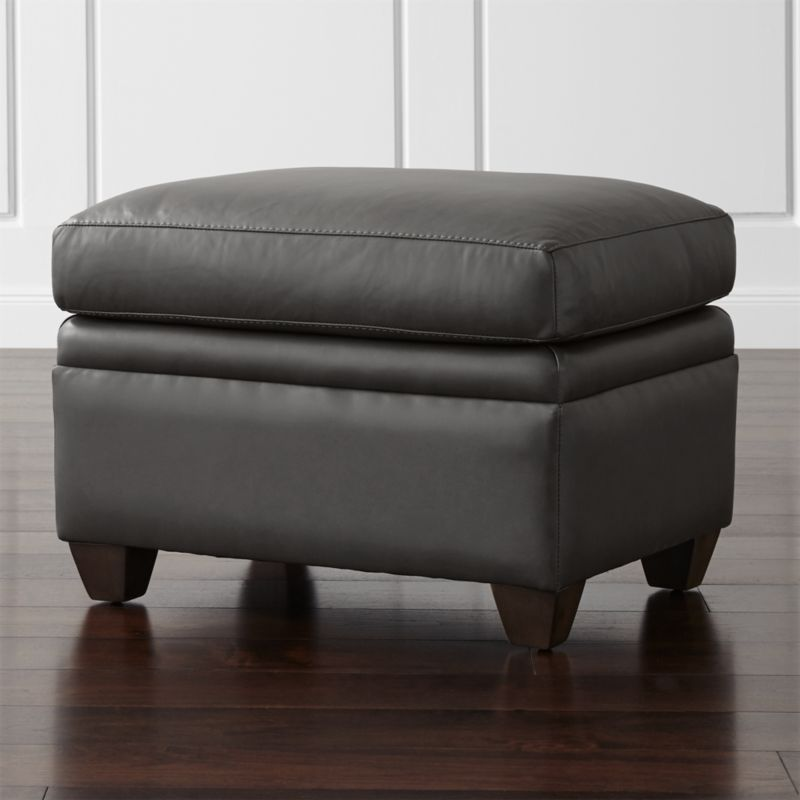 Declan leather ottoman lavista slate crate and barrel for Crate and barrel pouf