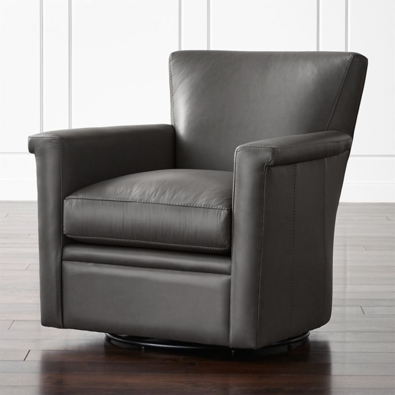 Declan Leather 360 Swivel Chair Lavista Slate Crate And