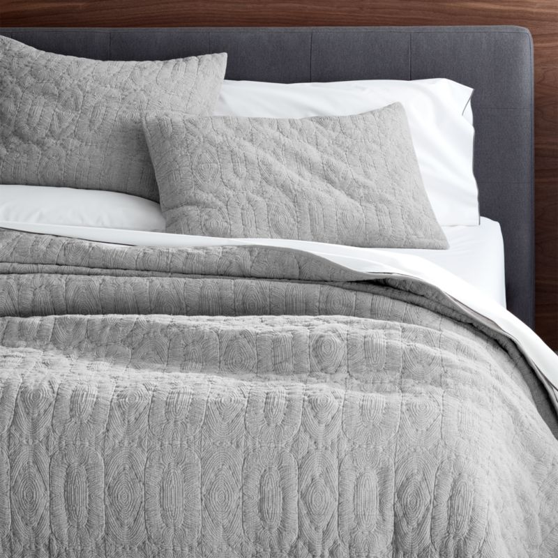 Delano Grey Quilts And Pillow Shams Crate And Barrel