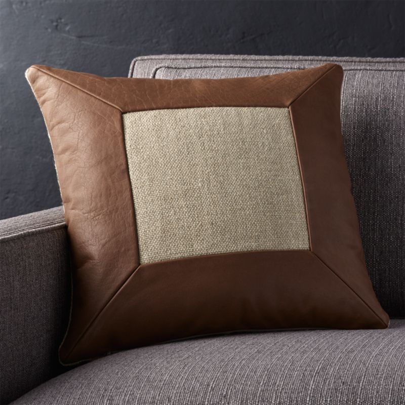 "Delino Leather 16"" Pillow with Feather-Down Insert"
