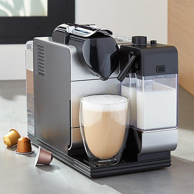 delonghi silver nespresso lattissima plus espresso maker crate and barrel. Black Bedroom Furniture Sets. Home Design Ideas